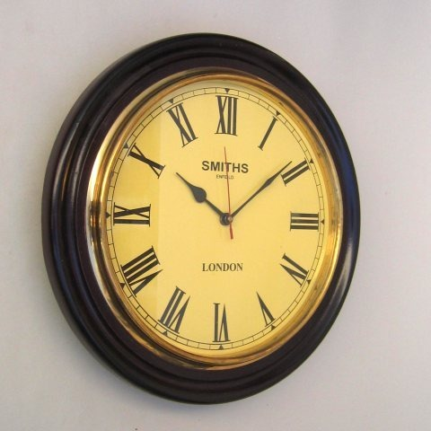 NAUTICAL WOODEN MARINE SINGLE TIME CLOCK 16