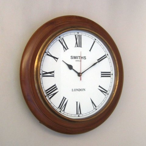NAUTICAL WOODEN SINGLE TIME TAPER CLOCK 16