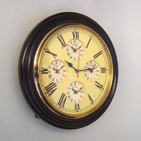 NAUTICAL MARINE WALL CLOCK FIVE TIME TAPER 16