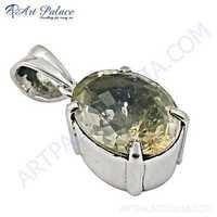 Celeb Style Gemstone Citrine Silver Pendant