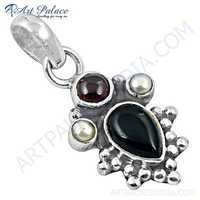 Designer Black Onyx, Pearl & Tourmaline Gemstone Silver Pendant