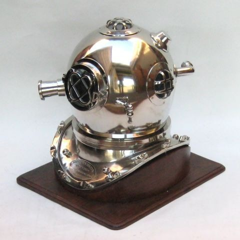 NAUTICAL ALUMINUM DIVERS HELMET MARK V WITH  WOODEN BASE 18