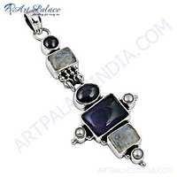 Lastest luxury Multi Gemstone Silver Pendant
