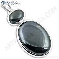 Hot!! Black Coral & Gun Metal Gemstone Silver Pendant
