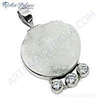 Rady to Wear Cubic Zirconia & Druzy Gemstone Silver Pendant