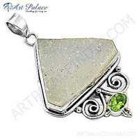 Fashion Accessories Druzy & Peridot Gemstone Silver Pendant