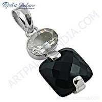 New Arrival Black Onyx & Crystal Gemstone SIlver Pendant