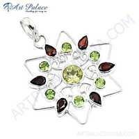 Beautiful Garnet & Peridot Gemstone Silver Pendant