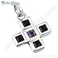 Cross Style Amethyst & Garnet Gemstone Silver Pendant