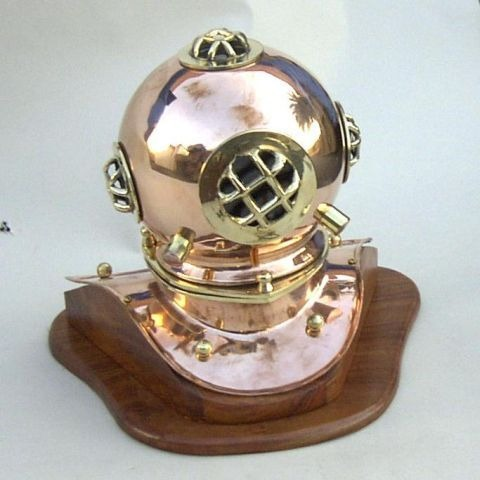 NAUTICAL COPPER DIVERS HELMET ON WOODEN BASE 8""