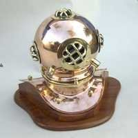 NAUTICAL COPPER DIVERS HELMET ON WOODEN BASE 8