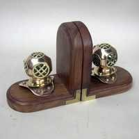 NAUTICAL BRASS COPPER DIVERS HELMET BOOKEND WOODEN BASE 7