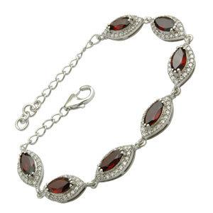 jaipur india mens bracelet, heavy  silver bracelet, garnet and cubic zirconia cz studded designer