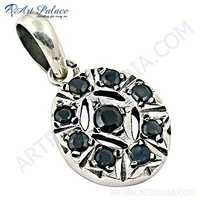 Latest Iolite Gemstone Silver Pendant