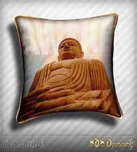 Golden Buddha Cushion Covers in MicroVelvet Fabric