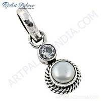 Designer Cubic Zirconia & Pearl Gemstone Silver Pendant