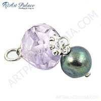 Girls Fashionable Amethyst & Pearl Gemstone Sterling Silver Pendant