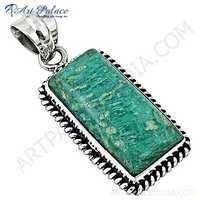 Vintage Turquoise Gemstone 925 Sterling Silver Pendant