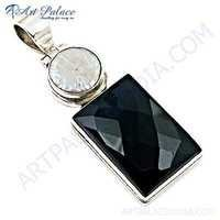 Luxurious Black Onyx & Pearl Gemstone Silver Pendant