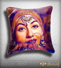 Digital Print Bollywood Cushion cover in Satin/Velvet.
