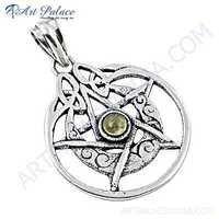 Rocking Style Star Citrine Gemstone Silver Pendant