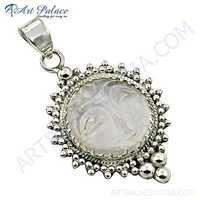 Ethnic Designer Crystal Gemstone Silver Pendant