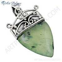 Celeb Style Prenite Gemstone Sterling SIlver Pendant