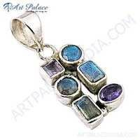 Indian Touch Amethyst & Labradorite Gemstone Silver Pendant