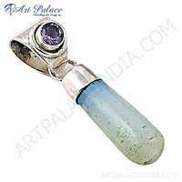 Delicate Blue Chalcedony Gemstone Silver Pendant