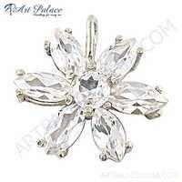 Classic Flower Cubic Zirconia Gemstone Silver Pendant