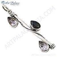Fashion Accessories Amethyst & Smokey Quartz Gemstone Silver Pendant