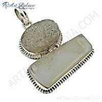 Elegant Fancy Druzy Gemstone Silver Pendant