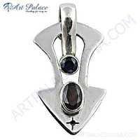 New Fashionable Garnet Gemstone Sterling SIlver Pendant