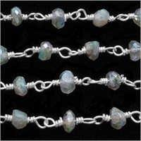 Labradorite Silver Wire Wrapped Chain