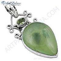 Famous Designer Peridot & Prenite Gemstone Silver Pendant