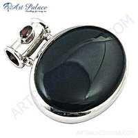 Midnight Black Onyx & Garnet Gemstone Silver Pendant