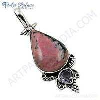 Fastival Designer Amethyst & Pink Opalite Gemstone Silver Pendant