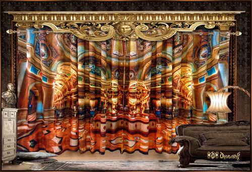 Digital Print Royal Roman Palace Curtains Set
