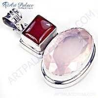 Charming Carnelian & Rose Quartz Gemstone Silver Pendant