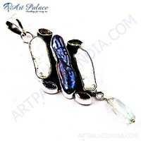 Antique Style Multi Gemstone Silver Pendant