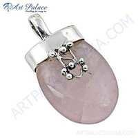 Valuable Rose Quartz Gemstone Silver Pendant