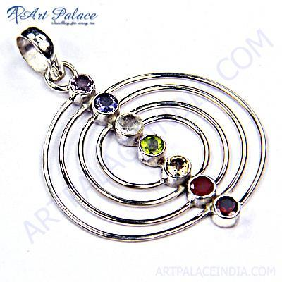 Fashionable Multi Stone Sterling Silver Pendant