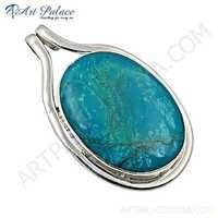Victorian Turquoise Gemstone 925 Sterling Silver Pendant
