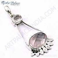 Ladies Designer Crystal & Rose Quartz Gemstone Silver Pendant