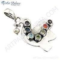 Bird Style Pretty Multi Stone & Pearl Silver Pendant