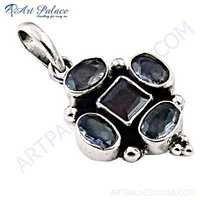 Elegant Garnet & Iolite Gemstone Silver Pendant