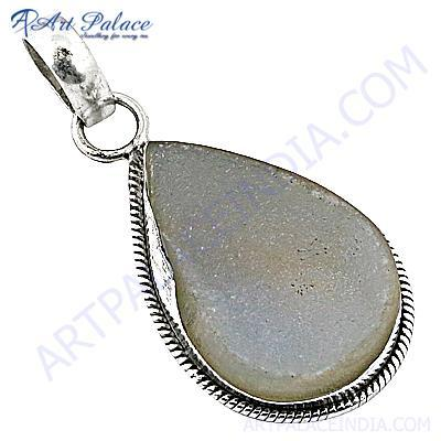 Delicate Druzy Gemstone Silver Pendant