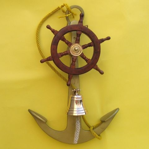 NAUTICAL ALUMINUM ANCHOR WITH SHIP WHEEL AND BELL 24