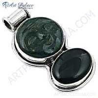 Latest Black Onyx & Green Aventurine Gemstone Silver Pendant