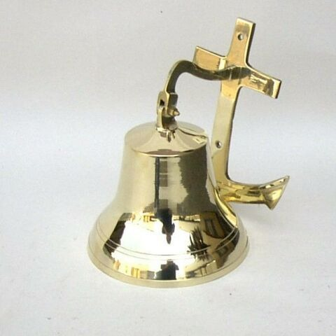 NAUTICAL BRASS WALL ANCHOR SHIP BELL 7
